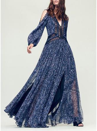 Lace Print V-neck Maxi A-line Dress