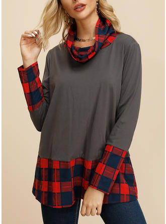Print High Neck Long Sleeves Casual Knit Blouses