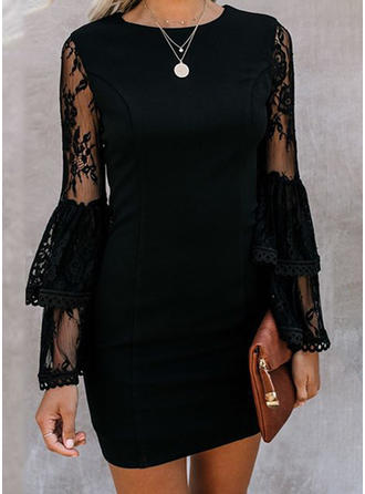 Lace/Solid Long Sleeves/Flare Sleeves Sheath Above Knee Little Black/Casual/Elegant Dresses