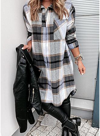 Tela escocesa Manga Larga Tendencia Sobre la Rodilla Casual Camisa Vestidos