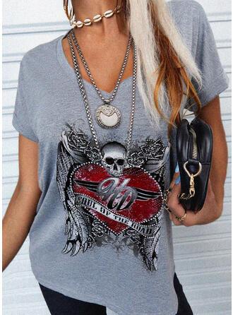 Serce Nadruk Wytłaczany Dekolt w kształcie litery V Krótkie rękawy T-shirty