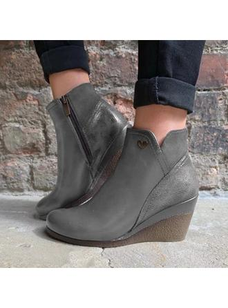 Women's Leatherette Wedge Heel Ankle Boots With Zipper shoes