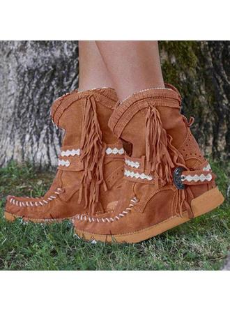 Femmes PU Talon plat Bottines Martin bottes avec Boucle Tassel chaussures