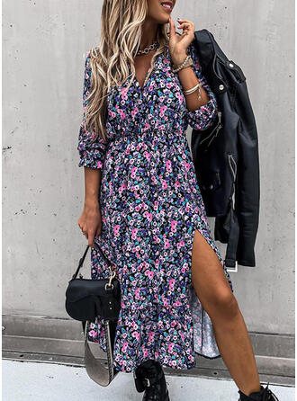 Print/Floral 3/4 Sleeves Sheath Casual Midi Dresses