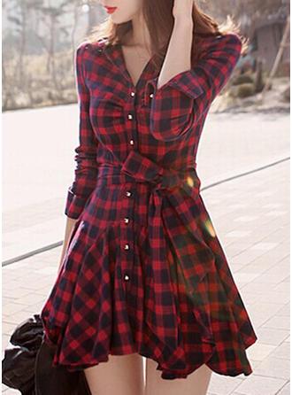 Καρό Μακρυμάνικο Φαρδύ Κάτω Πάνω Από Το Γόνατο Καθημερινό Сукні