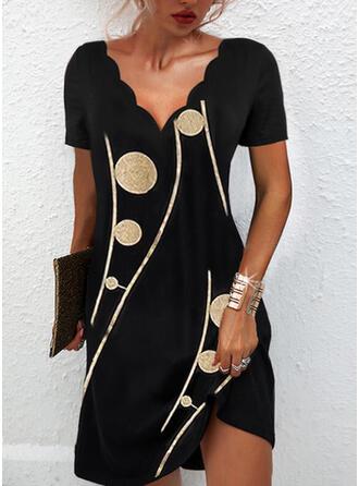 印刷 半袖 シフトドレス 膝上 カジュアル/エレガント チュニック ドレス