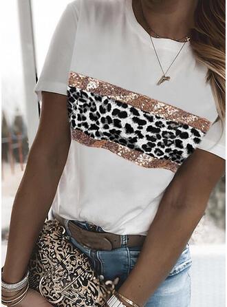 Leopard Pailletten Rundhalsausschnitt Kurze Ärmel T-Shirts