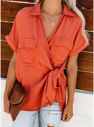 Solid Lapel Short Sleeves Casual Blouses