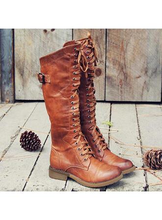 Mulheres PU Salto robusto Botas Martin botas com Fivela Aplicação de renda Cor sólida sapatos