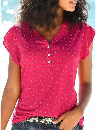 Einfarbig V-Ausschnitt Kurze Ärmel Mit Knöpfen Freizeit T-shirts