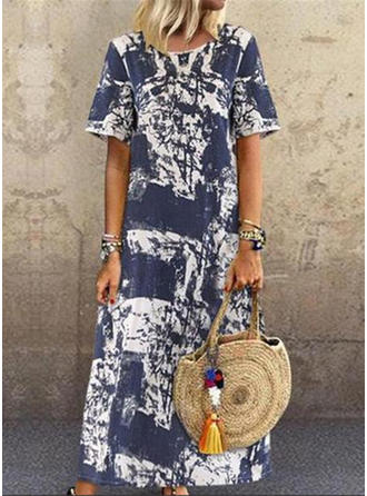 Print Short Sleeves Shift Maxi Casual Dresses