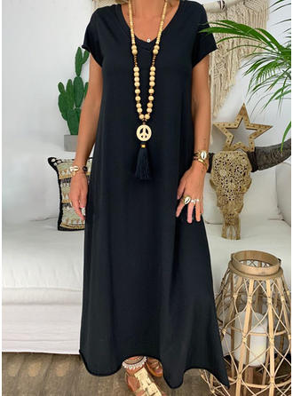 Solid Short Sleeves Shift Maxi Casual Dresses