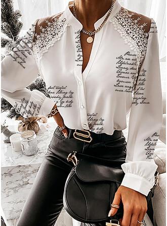 Stampa Pizzo Figura Scollatura a V Maniche lunghe Bottone Elegante Shirt and Blouses
