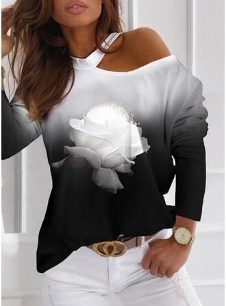 Εκτύπωση Φλοράλ Градієнт Ένας Ώμος Μακρυμάνικο Καθημερινό Блузи