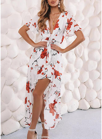Print/Floral Short Sleeves A-line Asymmetrical Casual/Vacation Dresses