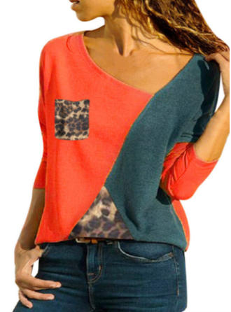 Cotton V Neck Color Block Long Sleeves Casual Blouses