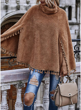 Long Sleeves Solid Capes