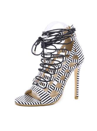 Women's Leatherette Stiletto Heel Sandals Pumps Peep Toe With Zipper Lace-up shoes