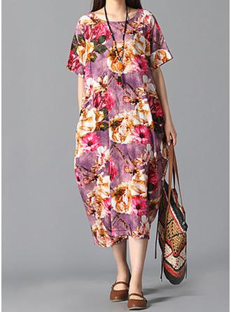 Print Round Neck Midi Shift Dress