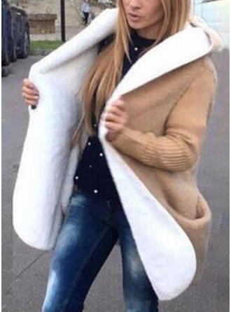 Mieszanki Długie rękawy Jednolity kolor Mieszanki Płaszcze