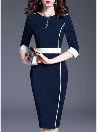 Solid Round Neck Midi Bodycon Dress
