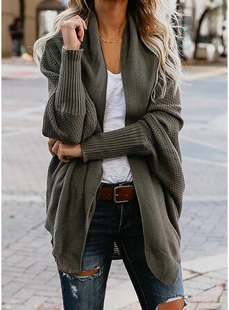 knit Cor sólida Casacos De Lã