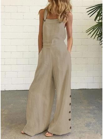 Solid Strap Sleeveless Casual Vacation Jumpsuit