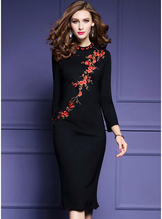 Cotton/Acetate Fiber With Stitching/Embroidery Knee Length Dress