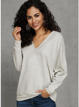 Solid V-Neck Long Sleeves Casual Oversized Blouses