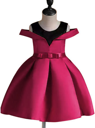 Girls Round Neck Patchwork Bow Cute Party Dress