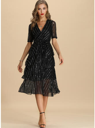 Sequins/Solid Short Sleeves A-line Midi Party/Elegant Dresses