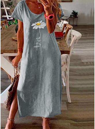 Nadrukowana/Kwiatowy Krótkie rękawy Koktajlowa Casual/Wakacyjna Midi Sukienki