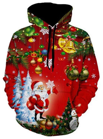 Men's Polyester Cotton Cotton Blends Print Santa Christmas Sweatshirt