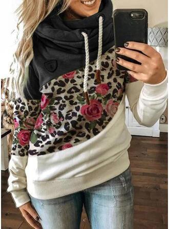 Color Block Blomster Leopard Lange ærmer Hoodie