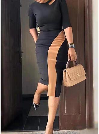 Χρώμα μπλοκ 1/2-es ujjú Testre simuló ruhák Térdig érő Ανέμελος φορέματα