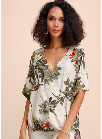 Print Floral V neck 1/2 Sleeves Casual Blouses