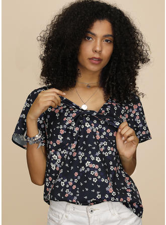 Print Floral V Neck Short Sleeves Casual Blouses