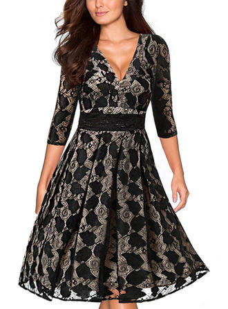 Lace/Solid 1/2 Sleeves A-line Knee Length Casual/Party/Elegant Dresses