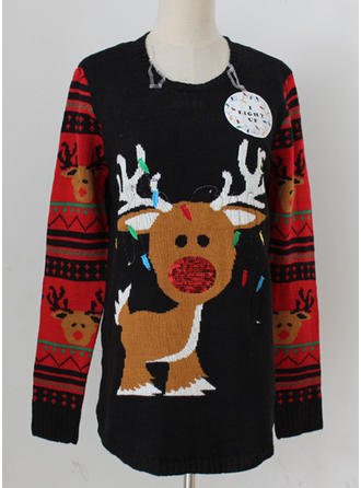Kvinnor Akryl Broderi Deer Ugly Christmas Sweater