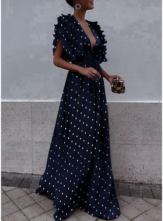 PolkaDot Flare Sleeves A-line Maxi Vintage/Party/Elegant Dresses