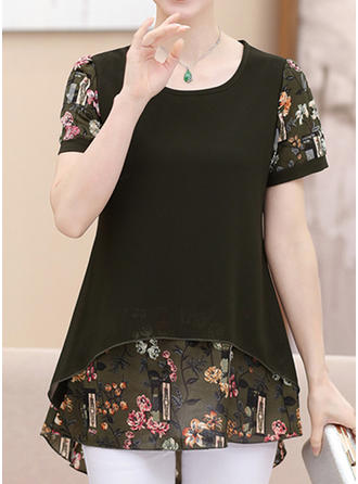 Chiffon Round Neck Floral Short Sleeves Casual Blouses