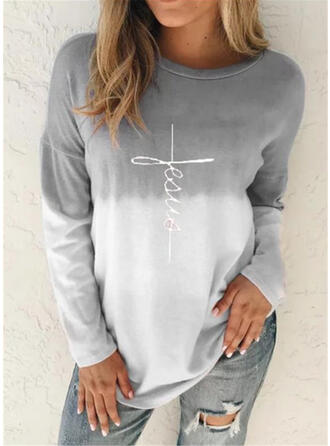 Print Color Block Round Neck Long Sleeves Casual Knit T-shirts