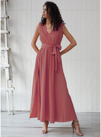 Solid Sleeveless A-line Maxi Casual Dresses