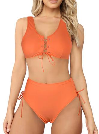 Couleur Unie Lacer À Bretelles Jolis Attrayant Mignon Bikinis Maillots De Bain