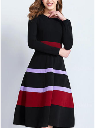 Striped Round Neck Knee Length A-line Dress
