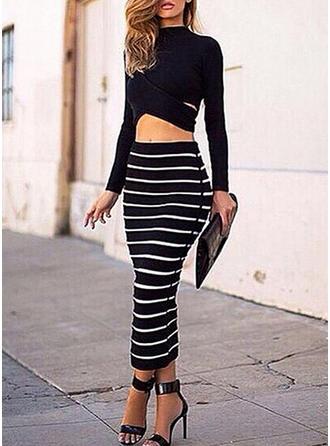 Striped Round Neck Maxi Bodycon Dress