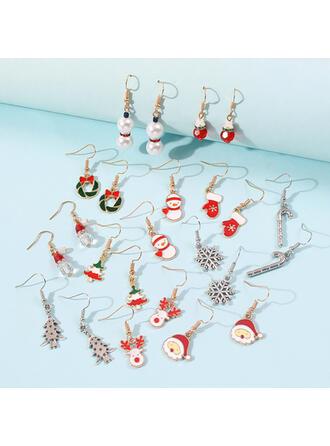 Albero di natale Natale renna Natale Babbo natale Pupazzo di neve Ghirlande di natale lega Donna Signore Ragazze Orecchini (Set di 12 coppie)