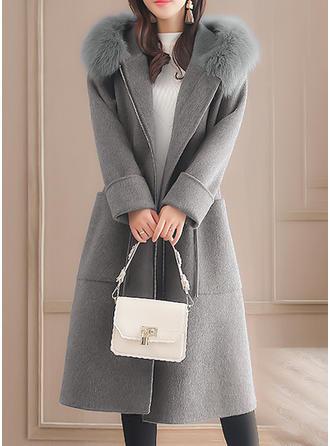 Long Sleeves Plain Woolen Coats