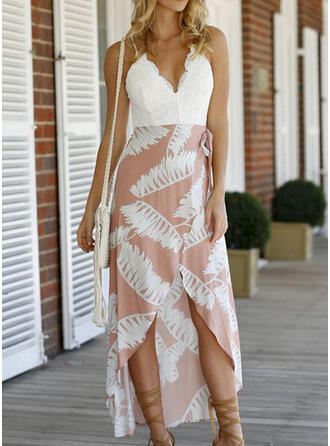 Lace/Print Sleeveless A-line Asymmetrical Sexy/Casual/Vacation Dresses