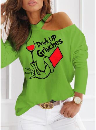 Print Figuur One Shoulder Lange Mouwen Casual Kerstmis Overhemd